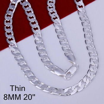 925 Silver 8mm 20 Flat Chain Necklace Mens Necklace N034