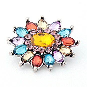 PAPAPRESS NEW 10pcs/lot Metal Snaps Crystal Multicolor Sunflower 18mm Snap Buttons Fit Snaps Leather Bracelet Jewelry W156