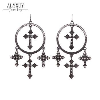 New Baroque style black color cross drop earring fashion jewelry gift  E0026