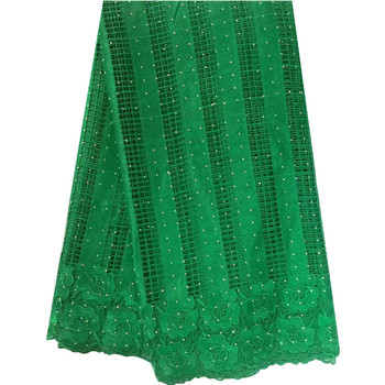 French Net Lace Fabric 2016 Latest African Guipure Lace Fabric With Embroidery Mesh Tulle Water Green Stones lace fabric