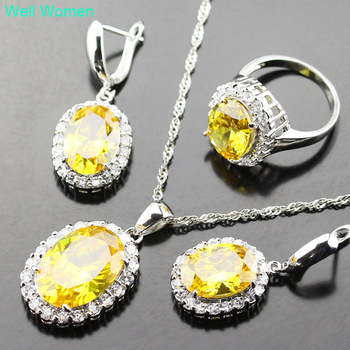 Yellow Zircon Silver Color Jewelry Sets For Women 925 Logo White crystal Wedding Necklace/Earrings/Ring Js07-005