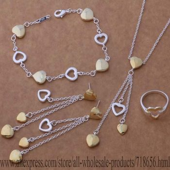 AS282 925 sterling silver Jewelry Sets Bracelet 112 + Necklace 607 + Earring 295 + Ring 231 /berajvya hitaqaaa