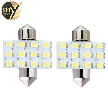 2 adet 31mm 12 SMD Saf Beyaz Dome Festoon 12 LED İç Araç Ampul Lamba 12 V c5w led araba