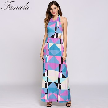 Falana Fashion 2017 Wommen Summer Long Dress Geometry Design Sleeveless Colorful Female Casual Dress vestido de festa