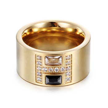 Female Fashion H Ring Quality Gold-Color Stainless Steel Wedding Ring Clear Black Blue Natural Stone Ring for Women Utr8148