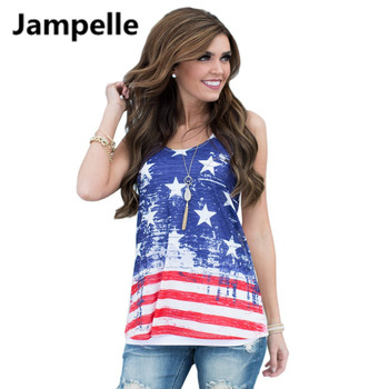 Fashion Women Summer Casual Vest American Flag Stripe stars Print Tank Tops O-Neck Sleeveless blouses T-shirt Plus size Clothes