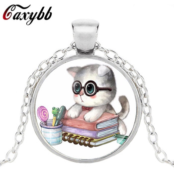 Caxybb silver vintage necklace statement lovely cat air photo necklaces cabochon crystal pendant fine jewelry necklace 2017