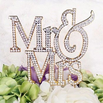 "110x110mm 4 3/10"" 2017 Mr Mrs Crystal Rhinestone Cake Toppers For Funny Wedding party Decoration birthday candle"
