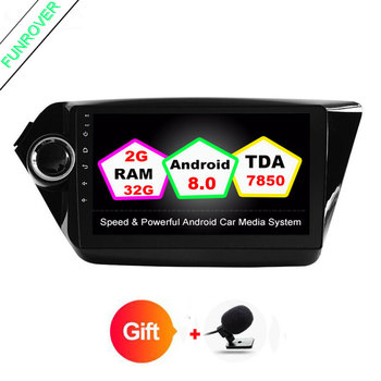 FUNROVER 2din Quad core Android 8.0 gps player Araba dvd Kia için rio 2010 2016 dash dashboard video player araba radyo k2 rio dvd