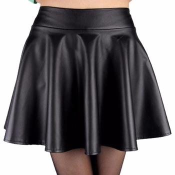 2017 Fashion Women Faux Leather Skirt High Waist Skater flare Mini Skirt Above Knee Solid Color Flared Pleated Short